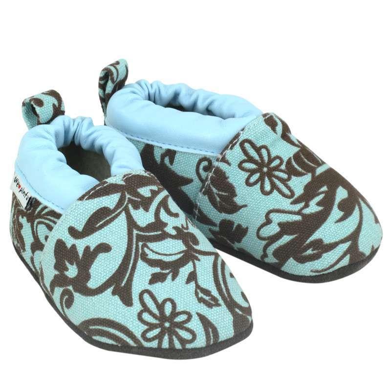 优安童鞋秋款学步鞋古典花纹 软底防掉婴儿鞋子男女童鞋宝宝鞋子 蓝色