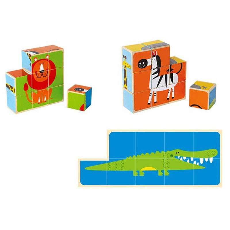 德国hape动物六面拼图积木儿童玩具 木制大块宝宝益智圣诞节礼物 e04