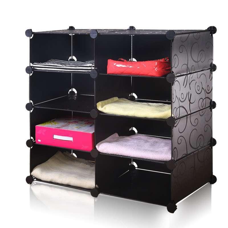 魔树脂片 衣柜收纳架 衣柜整理架 塑料特价diy创意宜家 加深大黑花.