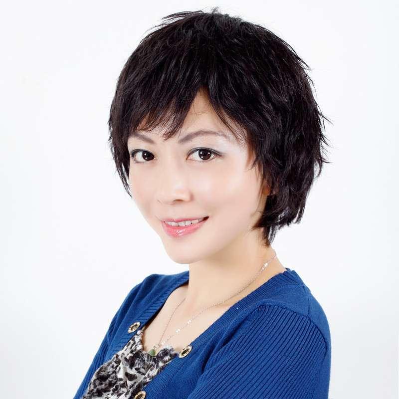 玫瑰雨 斜刘海 女士短发微卷 bobo 中老年 真发假发短发女 假发套 真