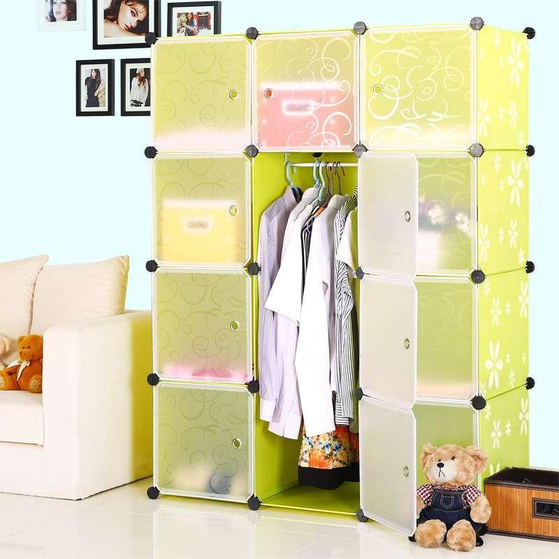 式简易衣柜 可折叠塑料加厚衣架钢架特价儿童布衣橱