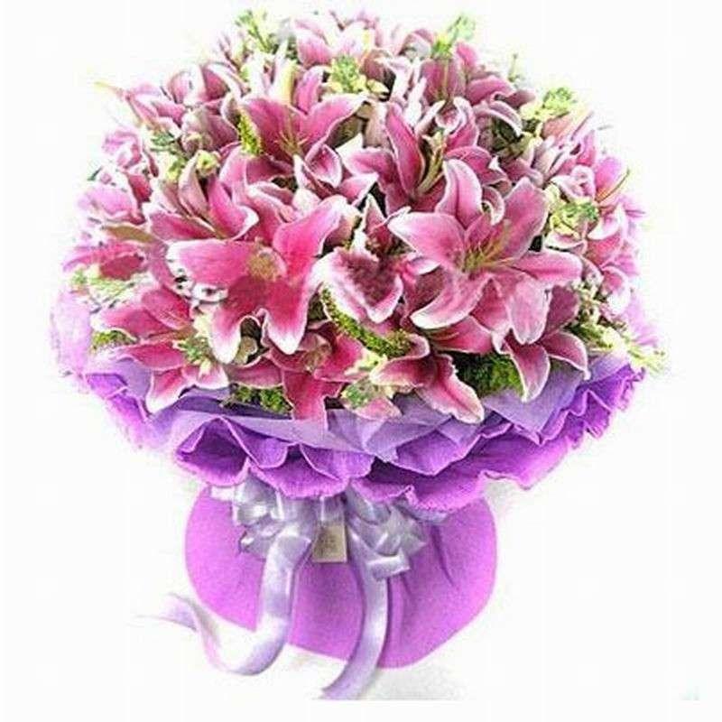 尚品花艺鲜花 22支粉色百合,黄莺搭配 情人节 七夕节
