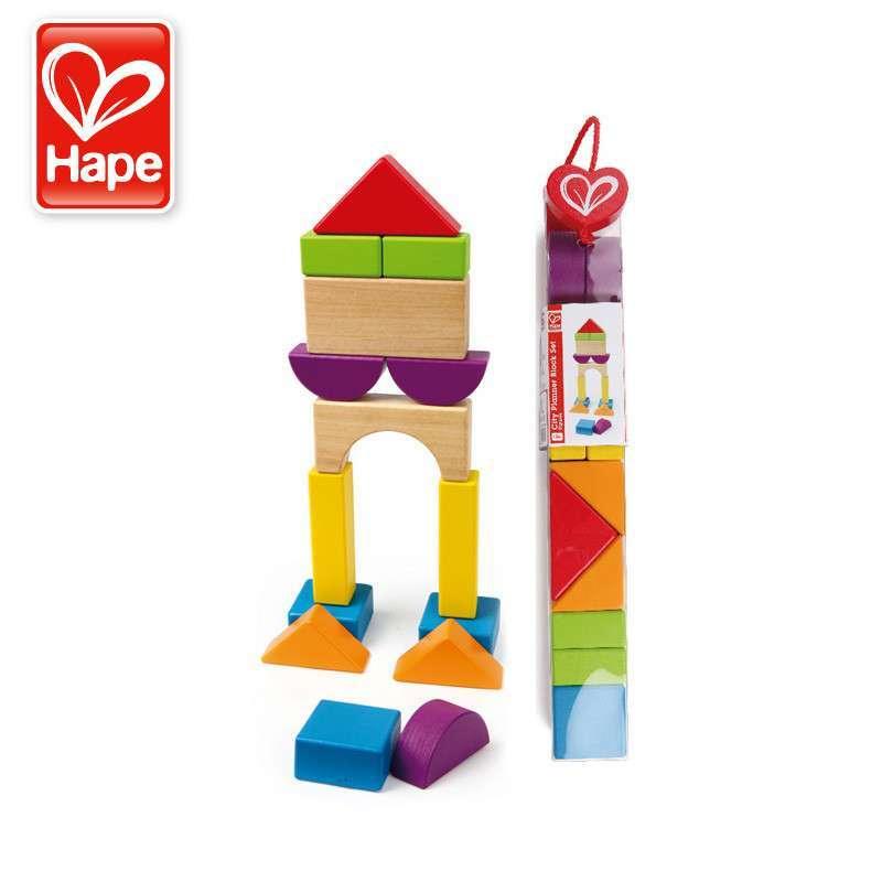 德国hape建筑师积木1-2岁儿童玩具木制宝宝益智早教智力 多彩多状 e09