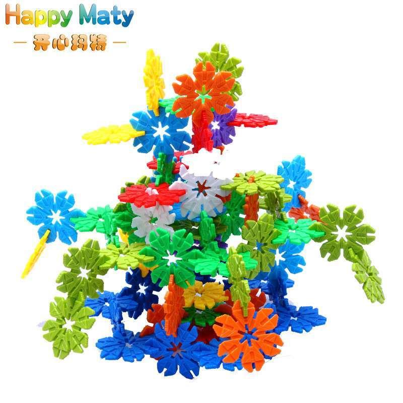 开心玛特 树叶雪花片塑料积木拼插儿童益智玩具乐高式