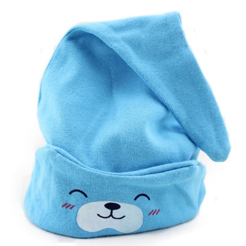公主妈妈春秋款小熊婴儿睡帽婴儿帽子新生儿帽套头帽睡眠帽子宝宝纯棉