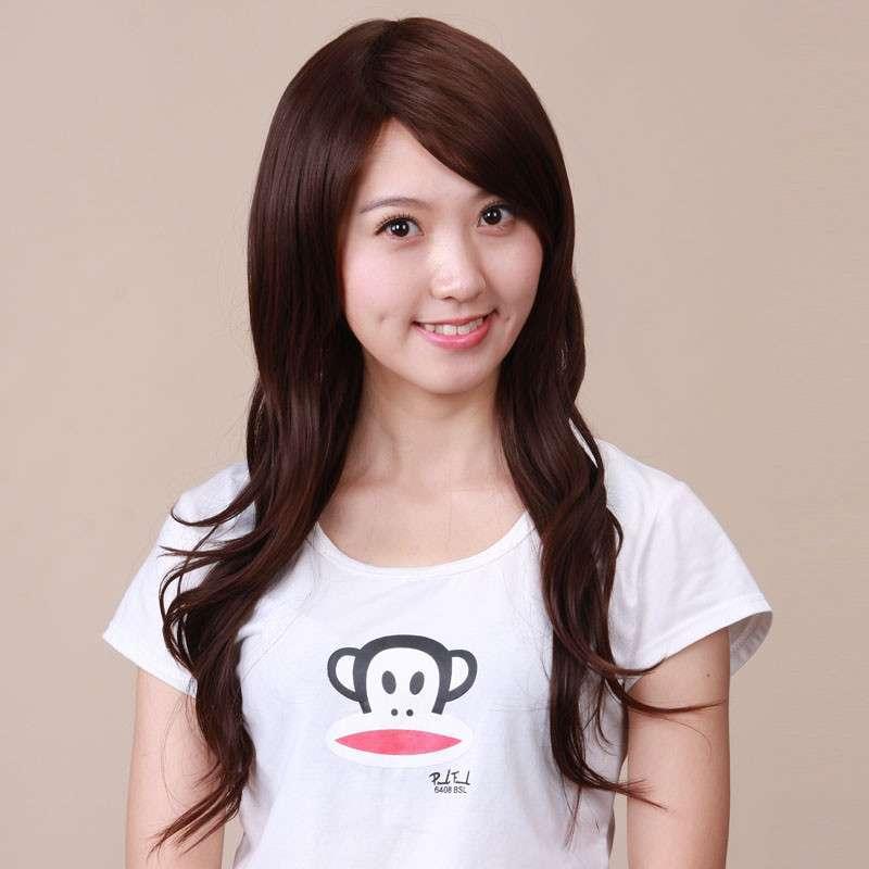 包邮假发 长卷发 时尚女 高温丝 斜刘海 甜美可爱型女生长发假发 l