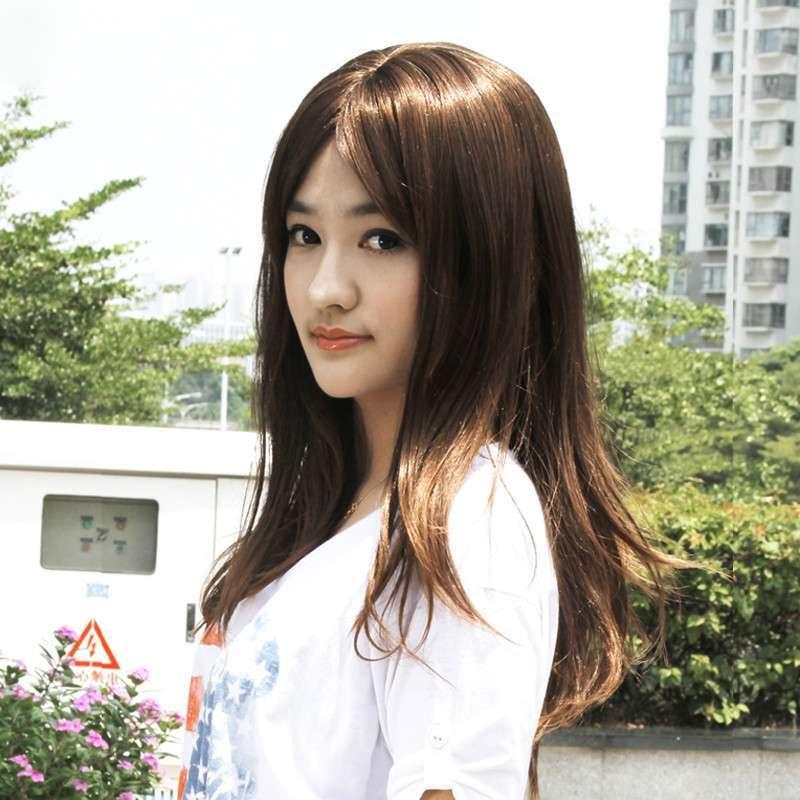 假发中分刘海 女生蓬松假发长卷 甜美可爱型修脸假发女包邮 m-0014