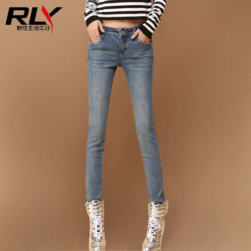 2014春季新品发布小脚牛仔裤修身显瘦铅笔裤女士牛仔裤子 烟灰蓝 32码