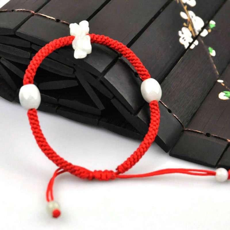 悦人天然翡翠貔貅编绳手链图片