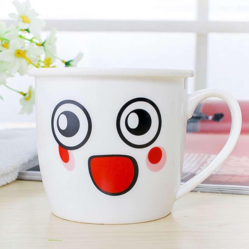 可爱时尚陶瓷杯子卡通杯马克杯具早餐牛奶杯奶茶咖啡杯 白色 (商品