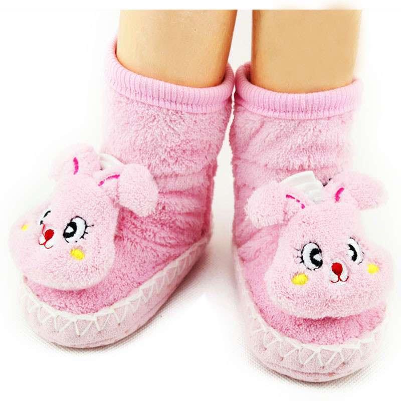 雅尔邦尼珊瑚绒卡通立体袜 加厚保暖宝宝鞋套1183 粉色小兔 均码