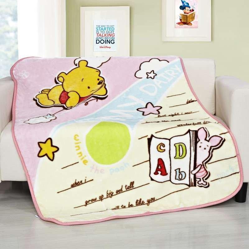 迪士尼(disney)宝宝日记维尼单层云毯婴童毛巾被新生儿抱被卡通毛毯