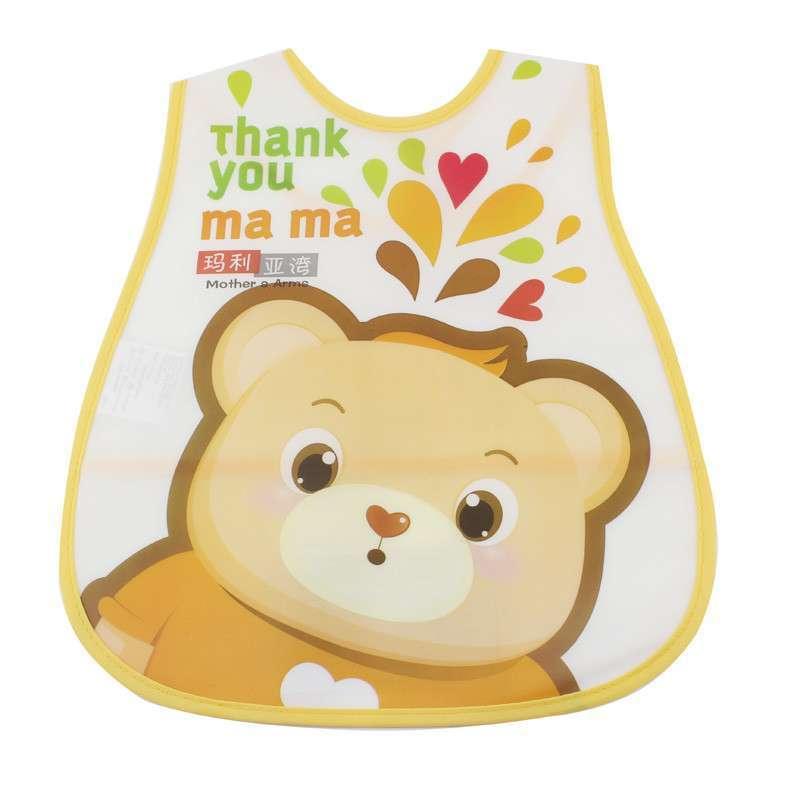 v-coool可爱卡通防水围兜婴儿围嘴口水巾宝宝饭兜 橙色小熊 均码