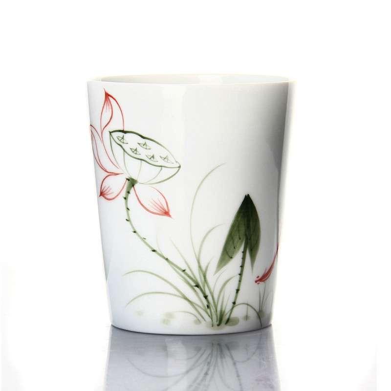 郑品 手绘茶杯青花瓷品茗杯子 品茗杯功夫茶杯 荷花大直口杯dpbzdzkh7