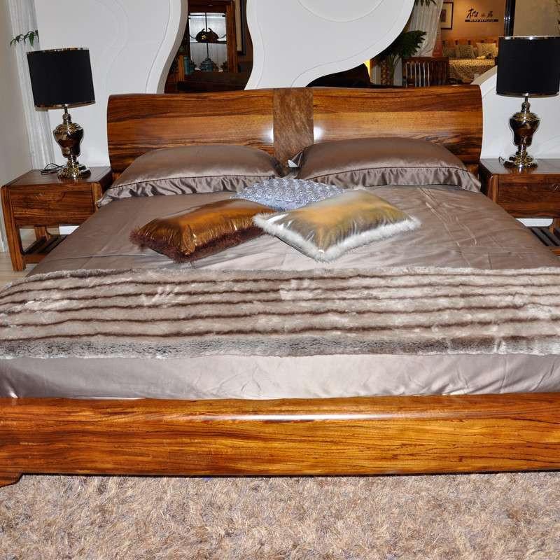 惠宜乌金木实木床 真皮双人床