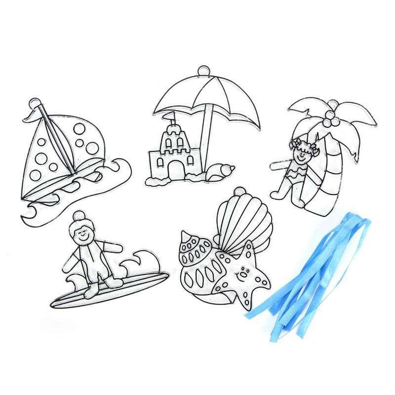 dms大贸商 diy手工制作 白模涂画 彩绘教学 海滩系列透光画6个 hh202.
