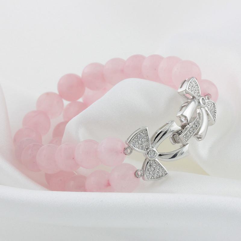 mike168 粉水晶蝴蝶搭扣可爱时尚银手链 女 粉色 925纯银 新品上架