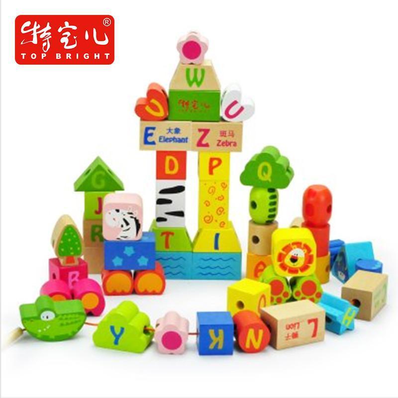 特宝儿 50粒字母动物串珠两用儿童积木木制大块 益智玩具