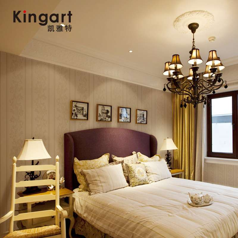 凯雅特壁纸欧式古典竖条纹卧室客厅背景墙无纺布发泡