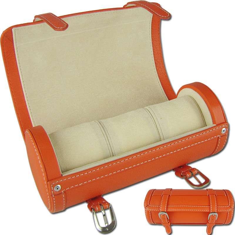 稼时 圆筒型 全手工制作3表位全牛皮手表盒 收藏盒 手表箱 收纳盒js3w