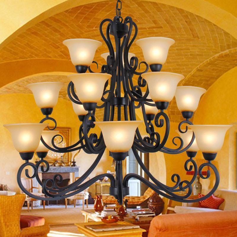 欧式复古仿古黄吊灯 客厅灯大厅灯大堂灯别墅大吊灯