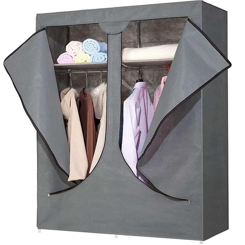 柜品世家 简易布衣柜 拉链式双开门布衣橱 银灰色