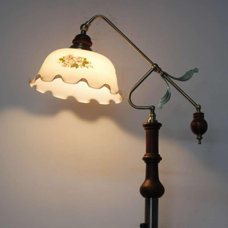 欧式英伦复古手工印花荷叶边灯罩落地灯