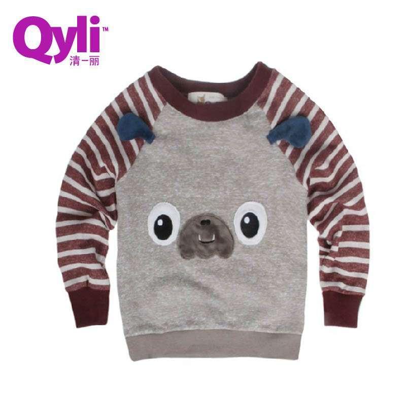 【清一丽】品牌童装 2013春季新品儿童卫衣 可爱卡通条纹套头衫 休闲