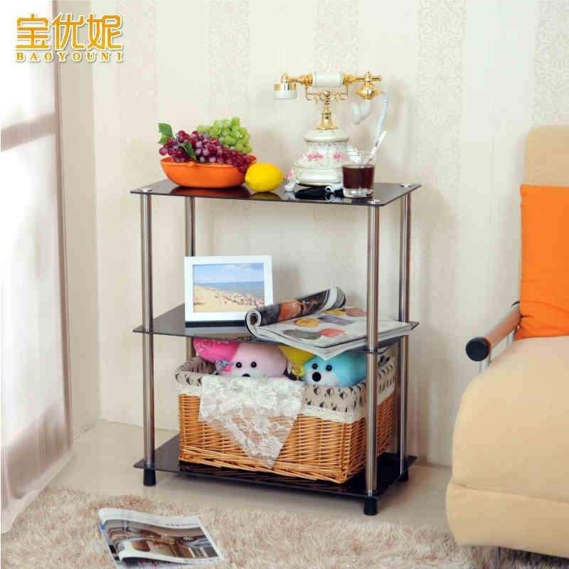 宝优妮 室内置物架 钢化玻璃置物架 客厅整理架 室内收纳架三层 dq-b