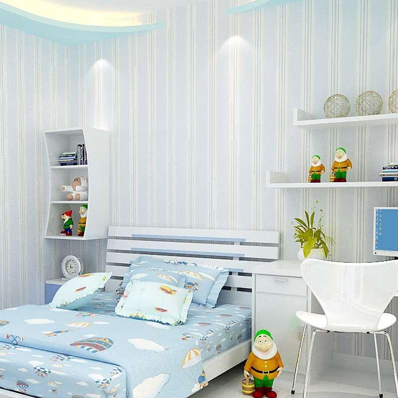 美式英伦男孩儿童房间简约现代卧室客厅竖条纹纯纸