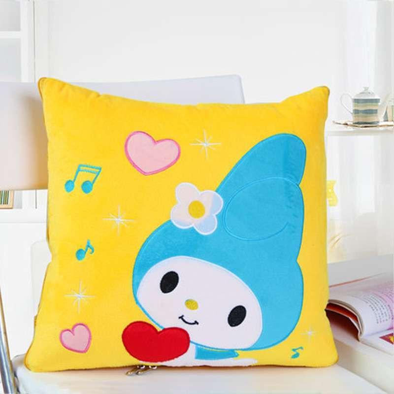 欧莱缦 多功能卡通可爱靠垫被沙发靠枕被创意抱枕被两用抱枕 音乐女孩