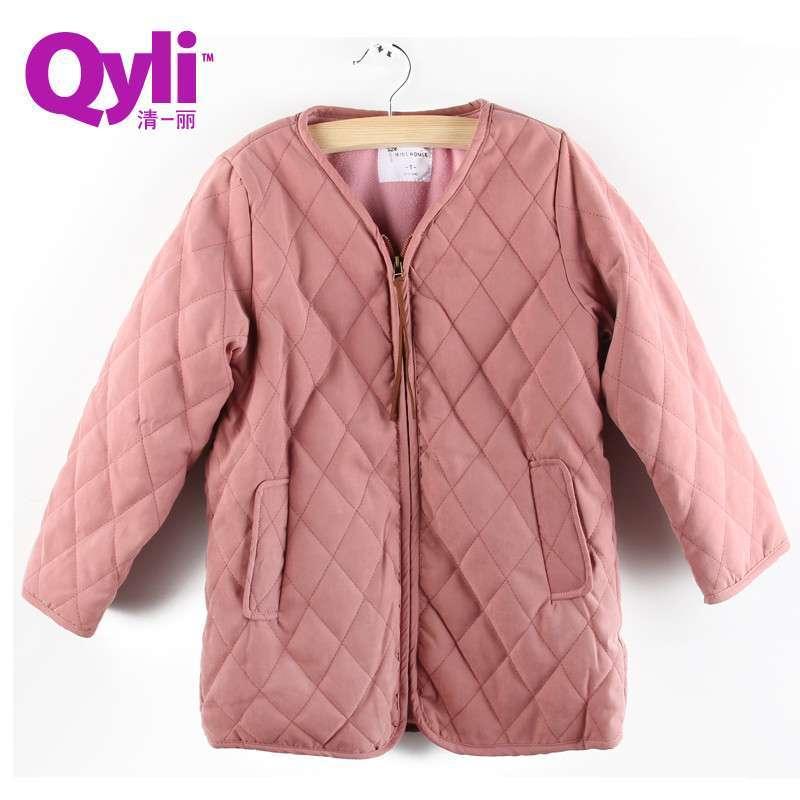 清一丽童装冬装新款女童棉服韩版加厚保暖外套可爱棉袄wg815866 粉红