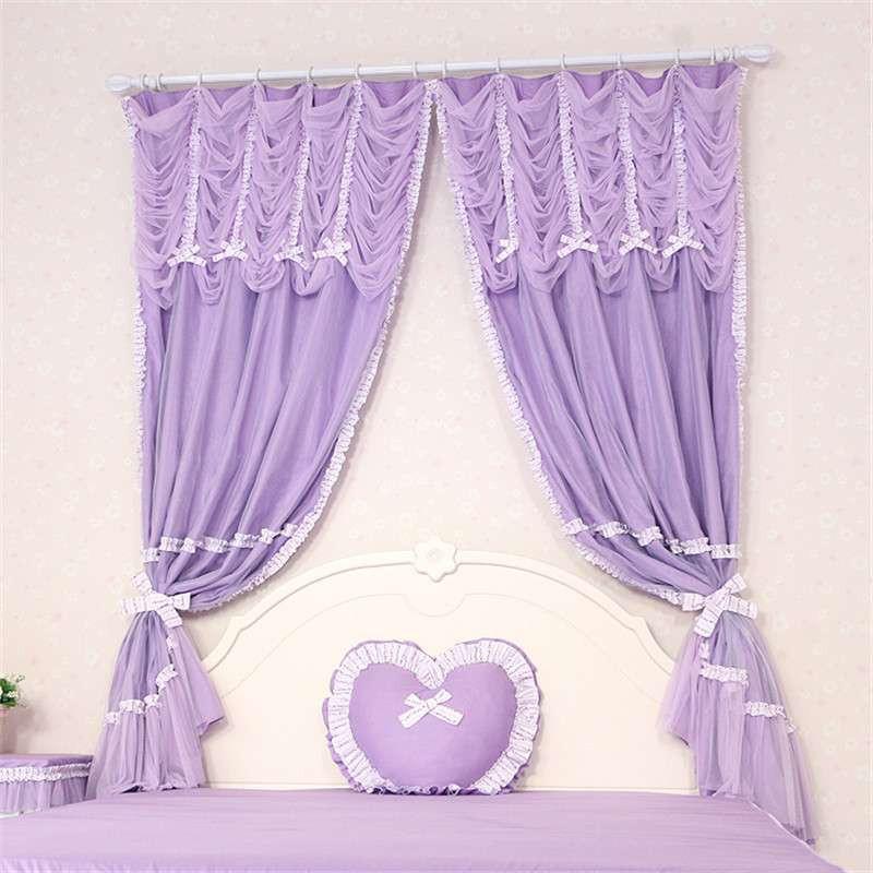 高档奢华客厅紫色窗帘婚房