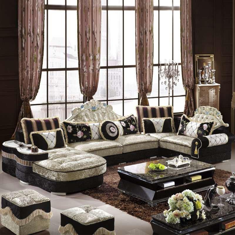 后现代风格欧式客厅u型组合沙发