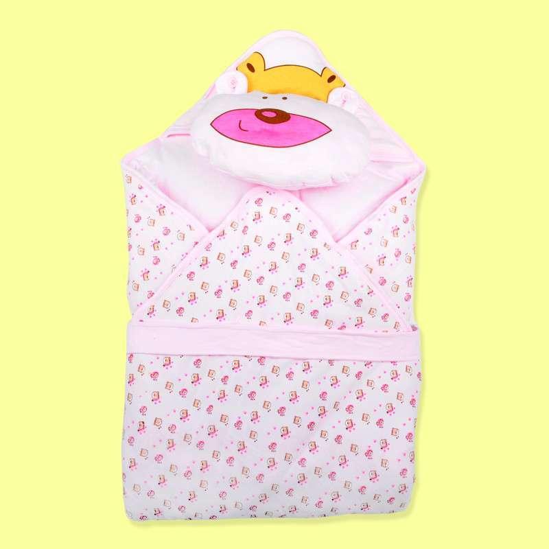 茜诗尔xsr童装 婴儿包被新生儿宝贝纯棉可爱卡通小熊枕头 722612 粉红