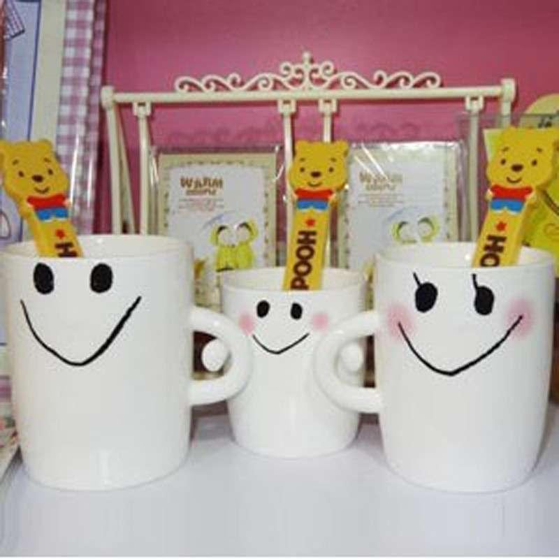 家适宝 一家三口可爱笑脸亲子杯陶瓷马克抱抱杯子咖啡