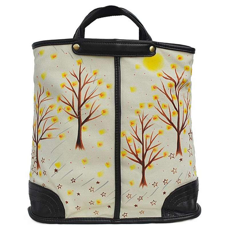 城市公主个性创意手绘树木景色帆布手提包f-g017 白色