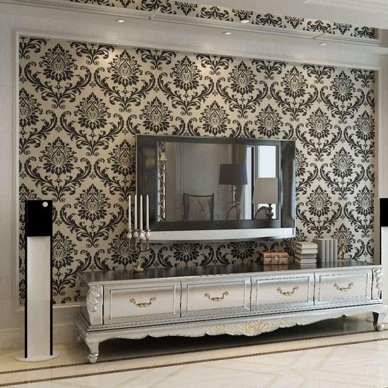 本木 经典欧式简约大马士革壁纸客厅电视背景墙纸无纺布特价 黑色图片