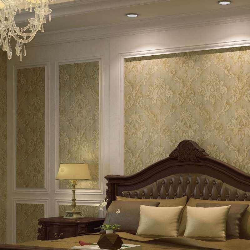 q家装复古墙纸欧式大马士革壁纸卧室客厅电视背景墙壁纸古典墙纸图片
