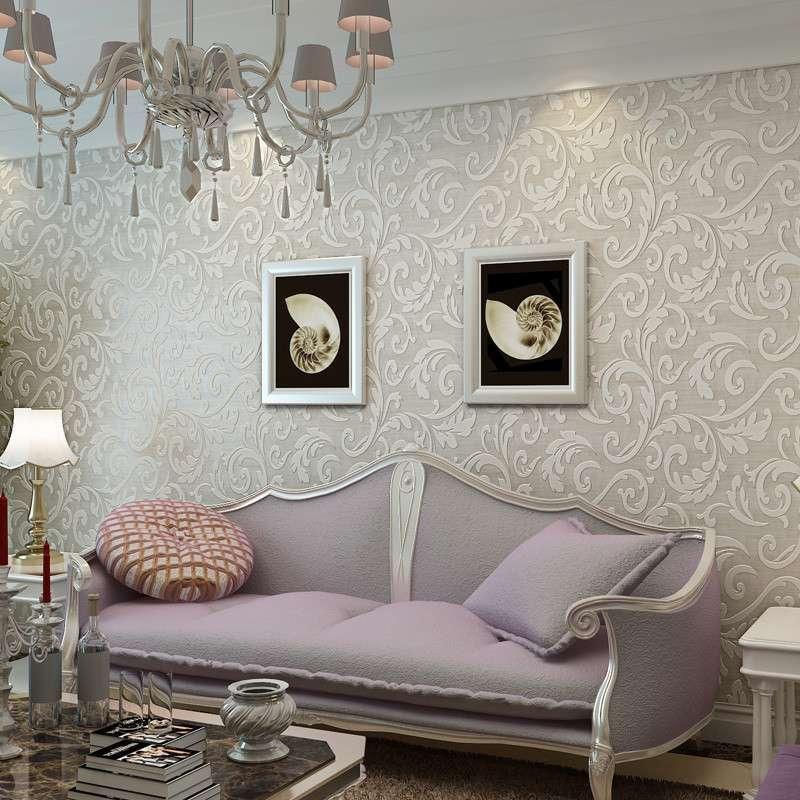 欧式莨苕叶壁纸立体水晶客厅沙发电视背景