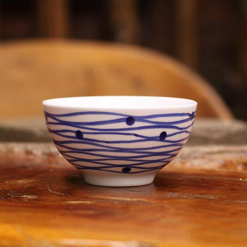 哲品家居 白瓷青花手绘水纹碗中号 中式时尚创意陶瓷饭碗