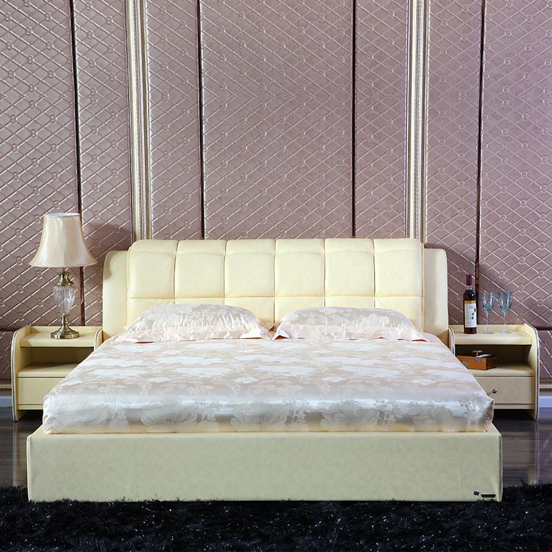 双虎家私 简约皮艺双人床 1.8米/1.5米皮床/软床 卧室家具rc001 1.5