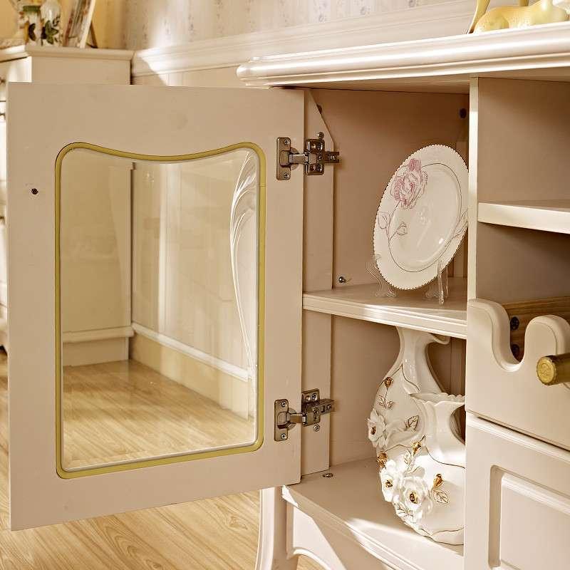 白色烤漆现代简约田园雕花餐边柜 实木欧式宜家餐厅柜酒柜储物柜 哑光