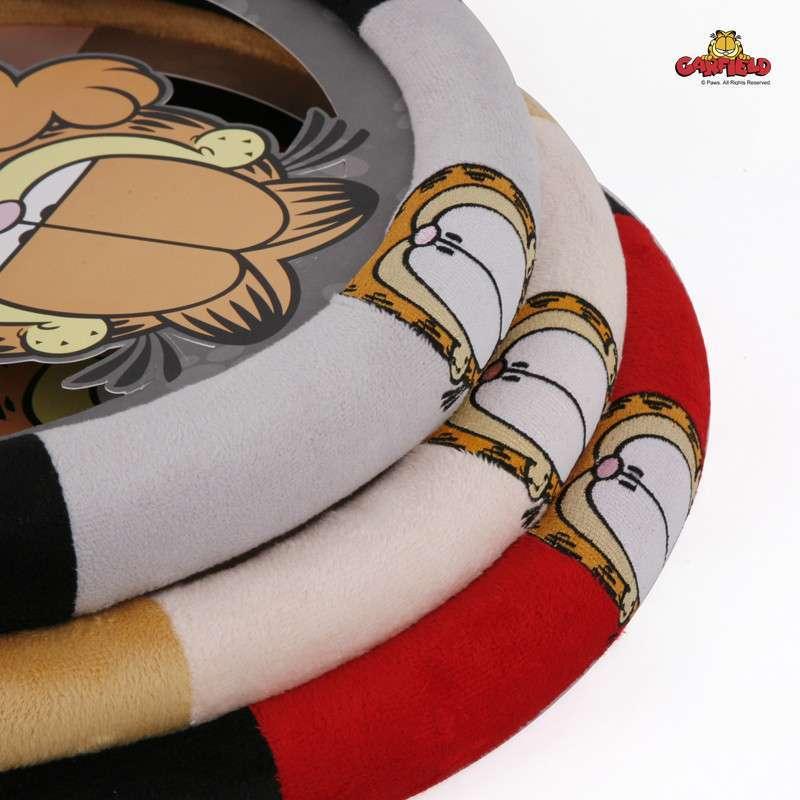 加菲猫卡通四季通用汽车方向盘套 宝来速腾朗逸把套 红黑色