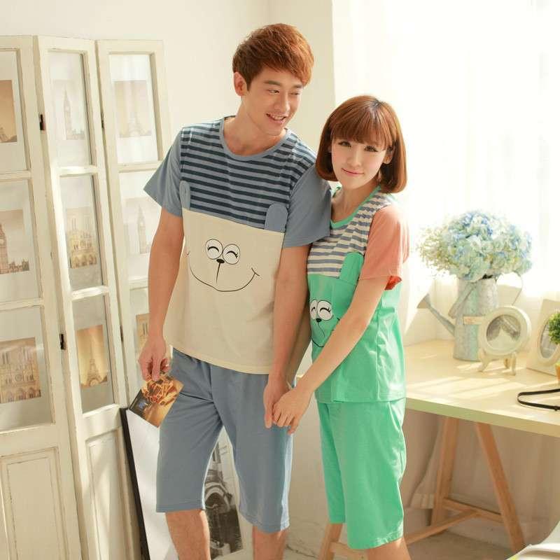 全城热恋2014夏季韩版新款短袖可爱卡通情侣睡衣男女士家居服套装 天
