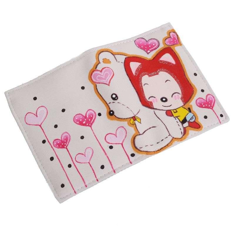 城市公主 手绘卡通钱包 帆布钱夹 彩绘卡包q-b035 白色
