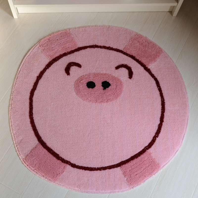 丽家家居 可爱猪猪座椅圆毯 客厅卧室防滑地垫 80*80cm 粉红色 80*80