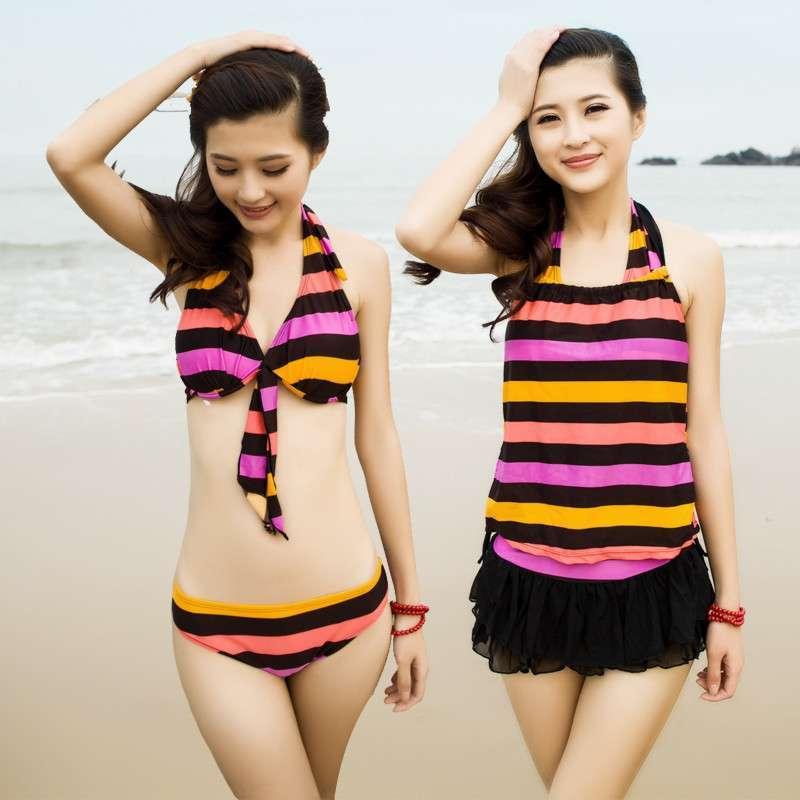 2014新品女学生 少女可爱泳衣比基尼分体裙式显瘦