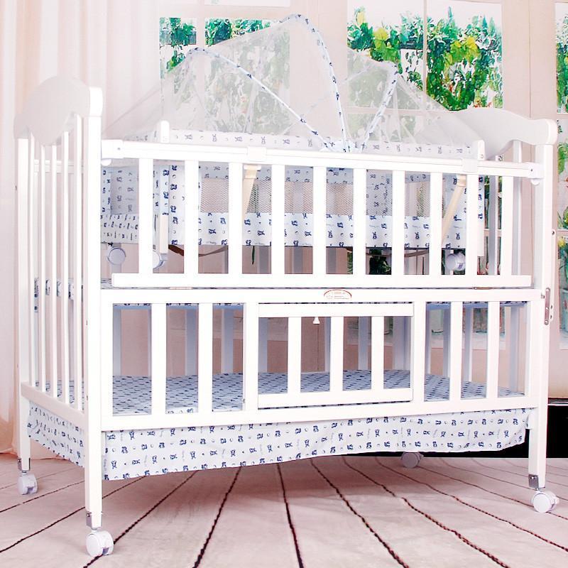 小硕士 全实木婴儿床 送摇床送蚊帐 白色