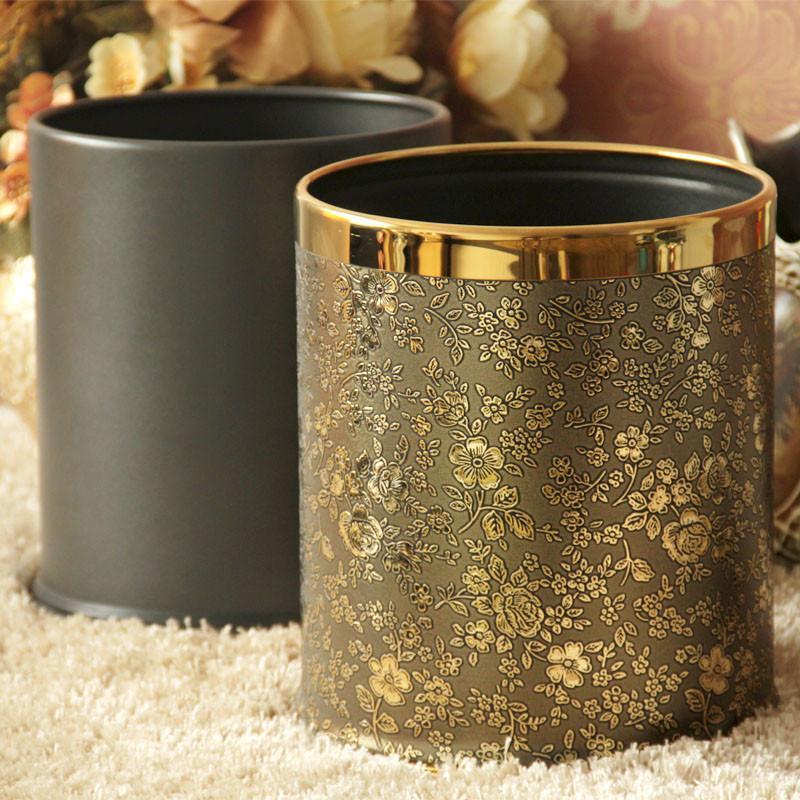 【帝梵】帝梵垃圾桶收纳桶欧式创意双层金属家用垃圾